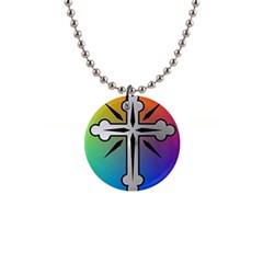 Cross Button Necklace