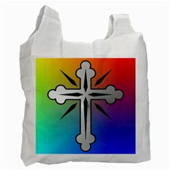 Cross White Reusable Bag (One Side)
