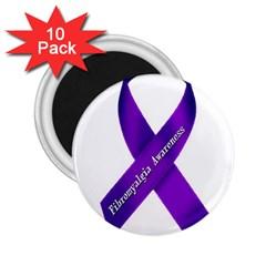 Fibro Awareness Ribbon 2.25  Button Magnet (10 pack)
