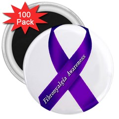 Fibro Awareness Ribbon 3  Button Magnet (100 pack)