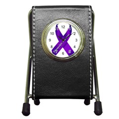 Fibro Awareness Ribbon Stationery Holder Clock