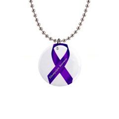 Fibro Awareness Ribbon Button Necklace