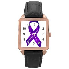 Fibro Awareness Ribbon Rose Gold Leather Watch