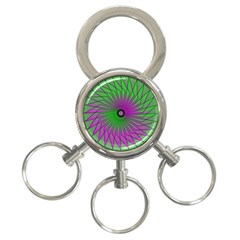 Pattern 3-Ring Key Chain