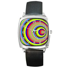 Color Square Leather Watch