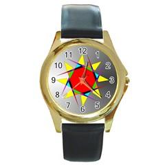 Star Round Leather Watch (Gold Rim)