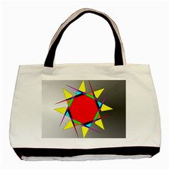 Star Twin Sided Black Tote Bag
