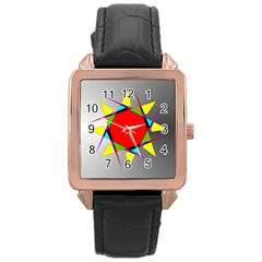 Star Rose Gold Leather Watch