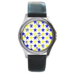 Star Round Leather Watch (Silver Rim)