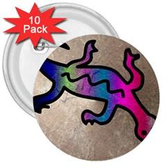 Lizard 3  Button (10 Pack)
