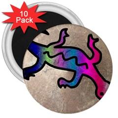 Lizard 3  Button Magnet (10 pack)