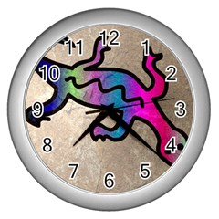 Lizard Wall Clock (silver)
