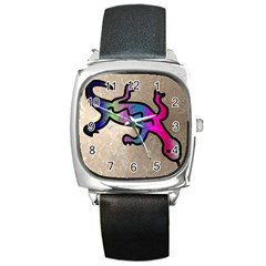 Lizard Square Leather Watch