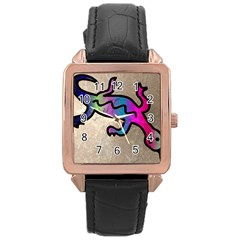 Lizard Rose Gold Leather Watch