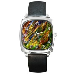 Abstract Smoke Square Leather Watch