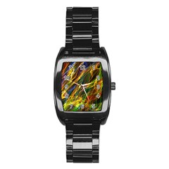 Abstract Smoke Stainless Steel Barrel Watch