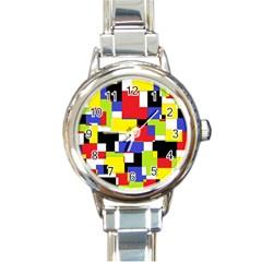 Mod Geometric Round Italian Charm Watch