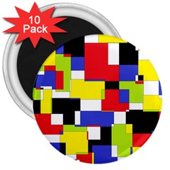 Mod Geometric 3  Button Magnet (10 pack)