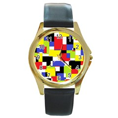 Mod Geometric Round Leather Watch (gold Rim)