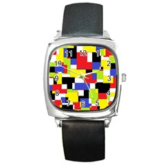 Mod Geometric Square Leather Watch