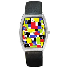 Mod Geometric Tonneau Leather Watch