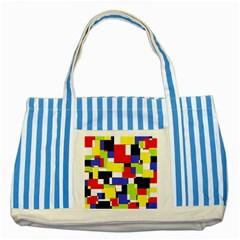 Mod Geometric Blue Striped Tote Bag