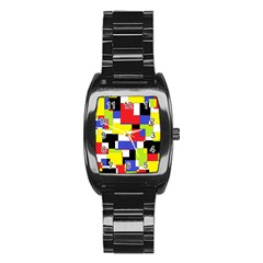 Mod Geometric Stainless Steel Barrel Watch