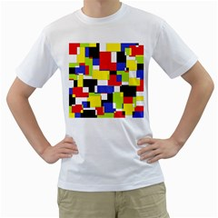 Mod Geometric Men s T Shirt (white)
