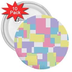 Mod Pastel Geometric 3  Button (10 pack)