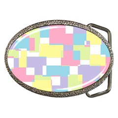 Mod Pastel Geometric Belt Buckle (Oval)