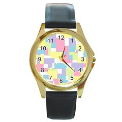 Mod Pastel Geometric Round Leather Watch (Gold Rim)