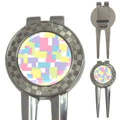 Mod Pastel Geometric Golf Pitchfork & Ball Marker