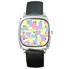 Mod Pastel Geometric Square Leather Watch