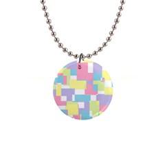 Mod Pastel Geometric Button Necklace