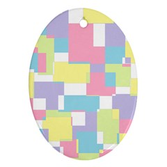 Mod Pastel Geometric Oval Ornament (two Sides)