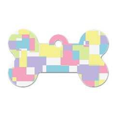 Mod Pastel Geometric Dog Tag Bone (one Sided)