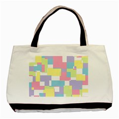 Mod Pastel Geometric Twin-sided Black Tote Bag