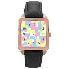 Mod Pastel Geometric Rose Gold Leather Watch