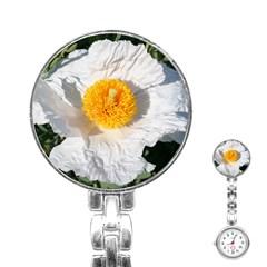 White Poppy Blossom Stainless Steel Nurses Watch