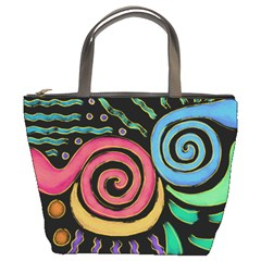 Funky Abstract Painting On Small Purse Bucket Handbag
