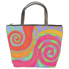 Colorful Abstract Painting On Small Purse Bucket Handbag