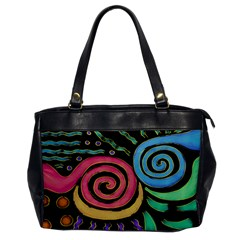 Funky Abstract Painting On Leather Like Handbag