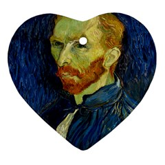 Vincent Van Gogh Self Portrait With Palette Heart Ornament