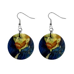 Vincent Van Gogh Self Portrait With Palette Mini Button Earrings