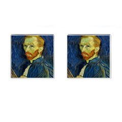 Vincent Van Gogh Self Portrait With Palette Cufflinks (Square)