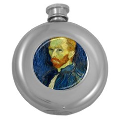Vincent Van Gogh Self Portrait With Palette Hip Flask (Round)