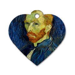 Vincent Van Gogh Self Portrait With Palette Dog Tag Heart (One Sided)