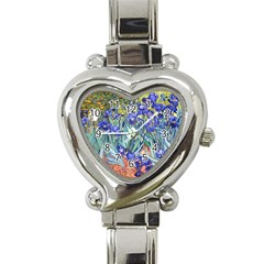 Vincent Van Gogh Irises Heart Italian Charm Watch