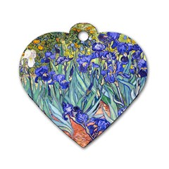 Vincent Van Gogh Irises Dog Tag Heart (Two Sided)