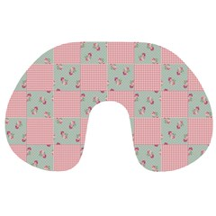 Floral Grid Travel Neck Pillow